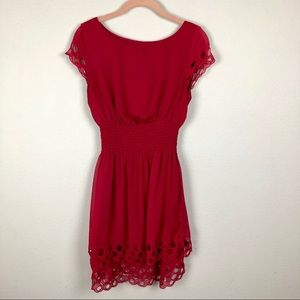 Bar III Red Cut Out, Smocked Waist Midi Dress M